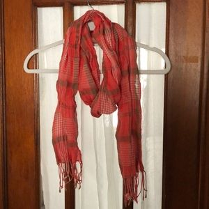 Adorable Talbots plaid scarf. Coral tan and white.